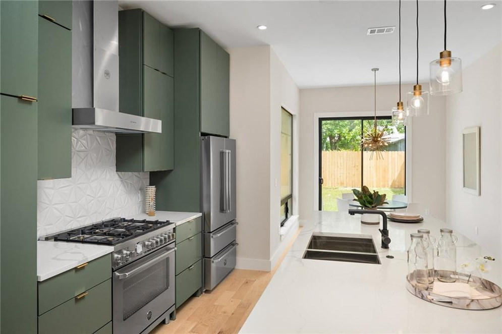 Bertazzoni appliances in the kitchen of the new build on Grover in Austin, TX