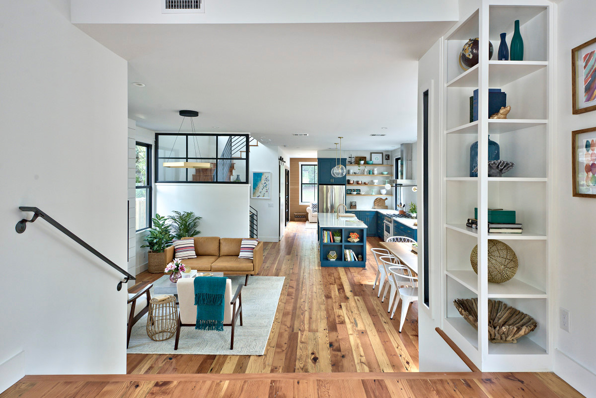 Open floorplan of the historic home renovation on West 11th in Austin, Texas