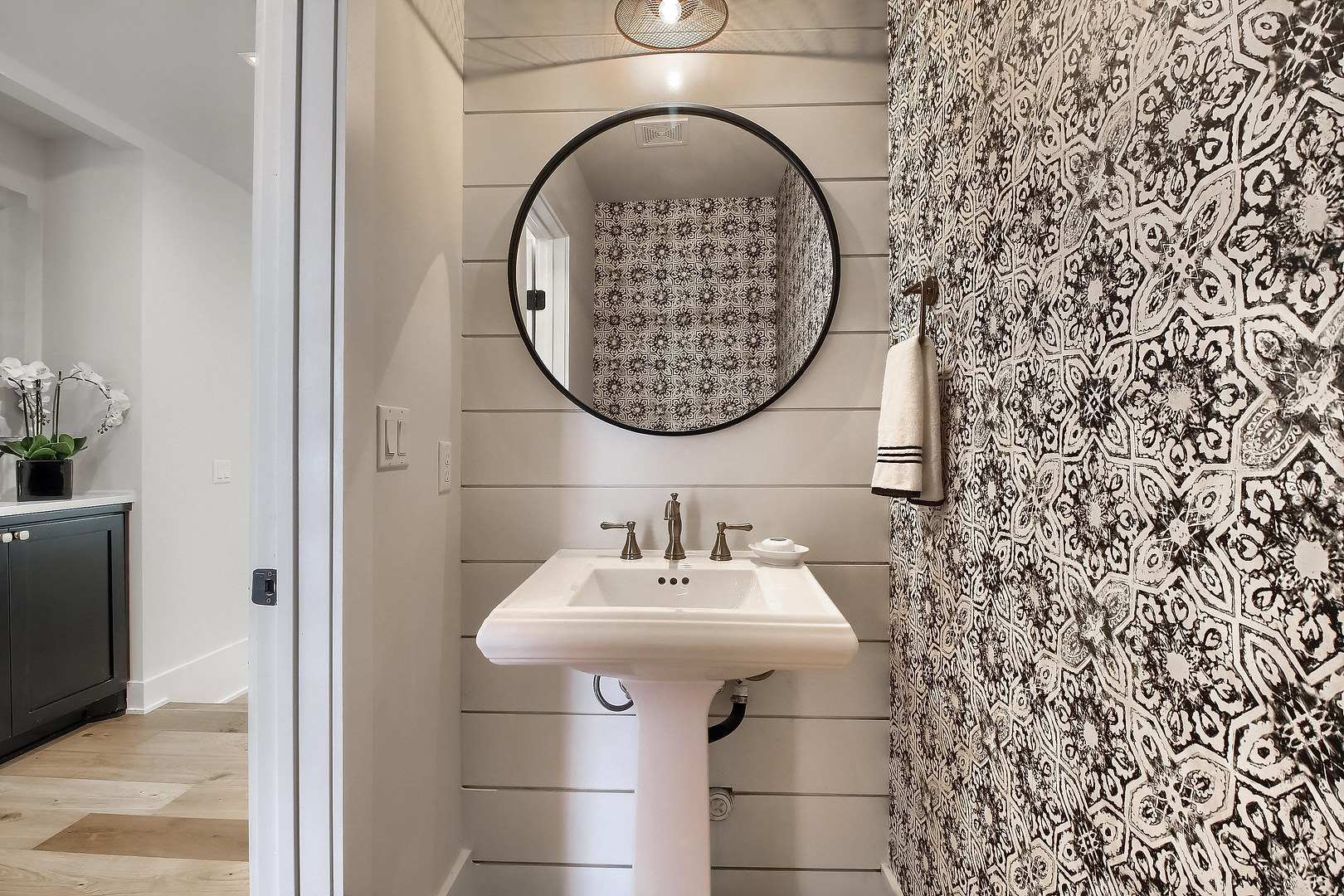 Home Renovation Half Bathroom Wallpaper on West 29th in Austin, Texas