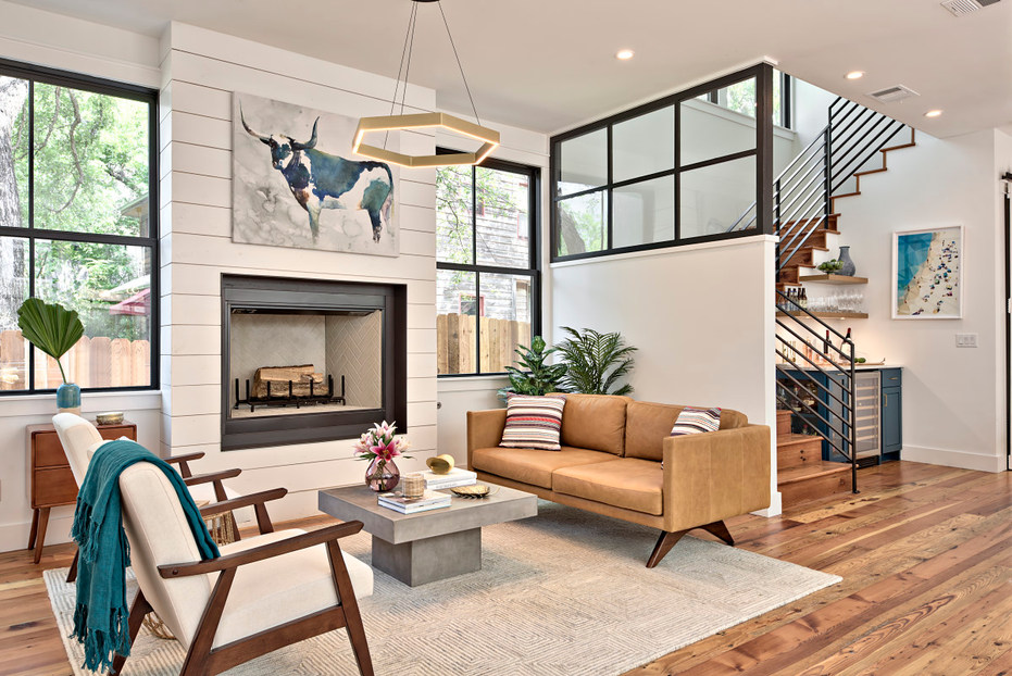 Living Room in the Historic Home Renovation in West 11th in Austin, Texas