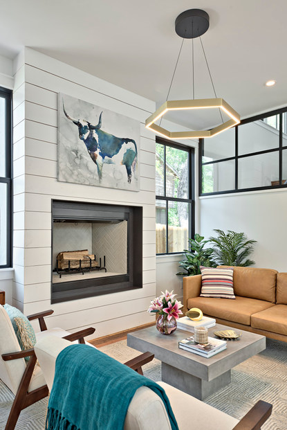 Fireplace in the Historic Home Renovation in West 11th in Austin, Texas