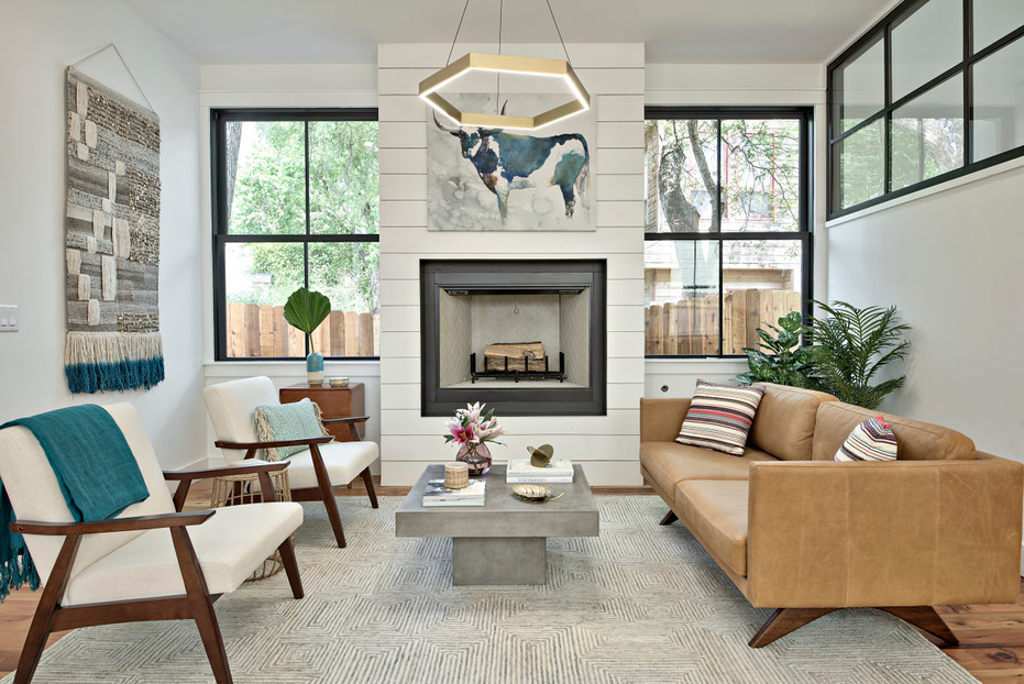 Living room in historic home remodel on West 11th in Austin, Texas