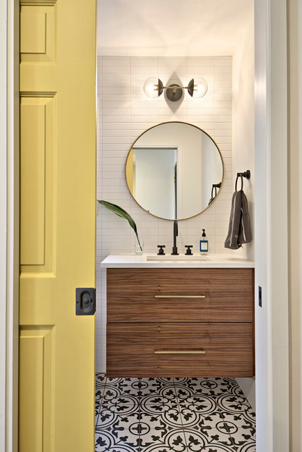 Home Remodel Featuring the Guest Bathroom in the Yaupon House in Austin, TX