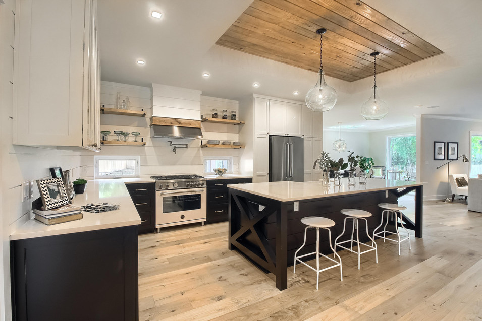 Home Renovation Vaulted Kitchen Ceiling on West 29th in Austin, Texas