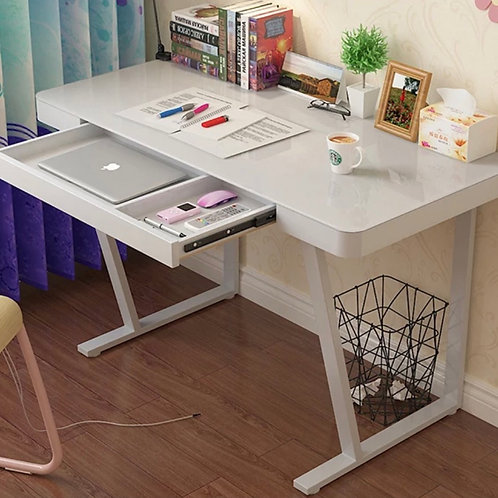 Modern/minimalist Study Table With Tempered Glass Top New