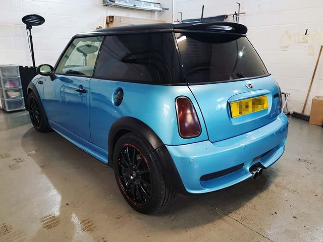 Stunning blue Mini Cooper in for rear ti