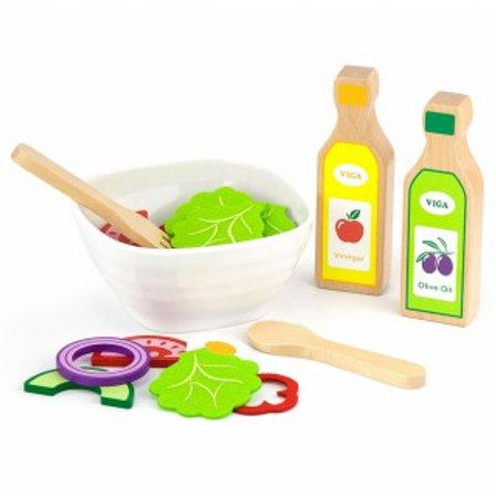 Žaislinis medinis salotų rinkinys