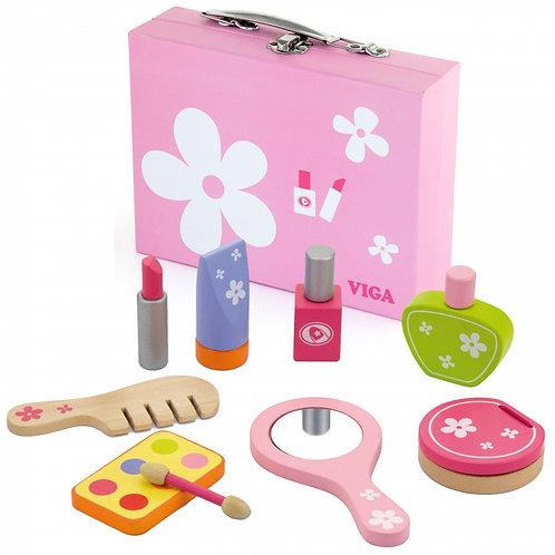 Vaikiškas medinis kosmetikos lagaminas su priedais
