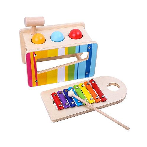 """Medinių muzikinių instrumentų rinkinys 2in1 """"Tooky Toy"""""""