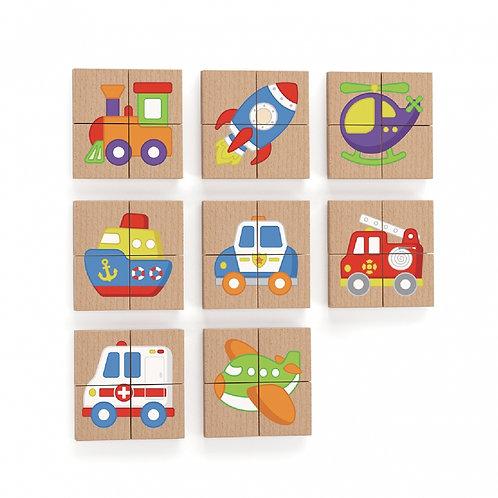 Medinė magnetinė delionė su transporto priemonių paveiksliukais