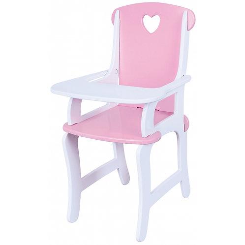Rožinė medinė maitinimo kėdutė lėlei