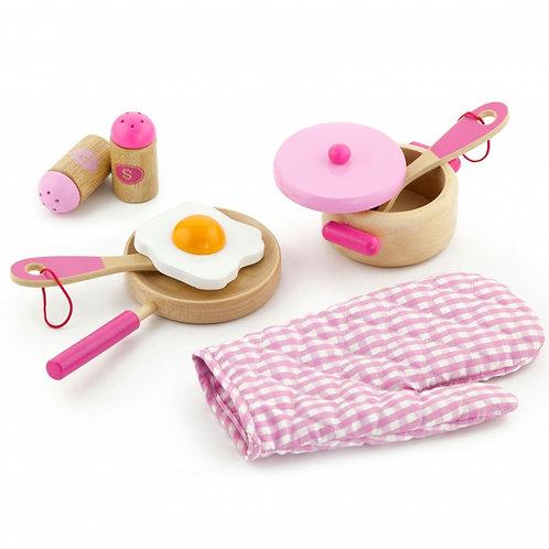 Žaislinis medinis virtuvės priedų rinkinys