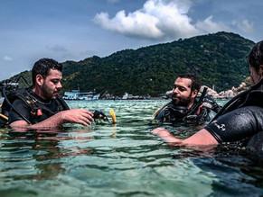 Batismo de mergulho, experimente o mergulho com cilindro.