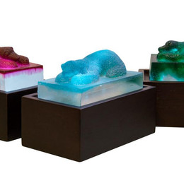 Material: Glass and Wooden Base Dimensions: 18 cm x 10 cm x 12 cm