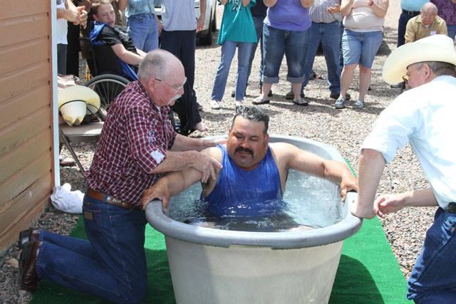 We batize in a horse trough.