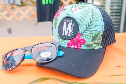 Teal Hawaiian Trucker Hat