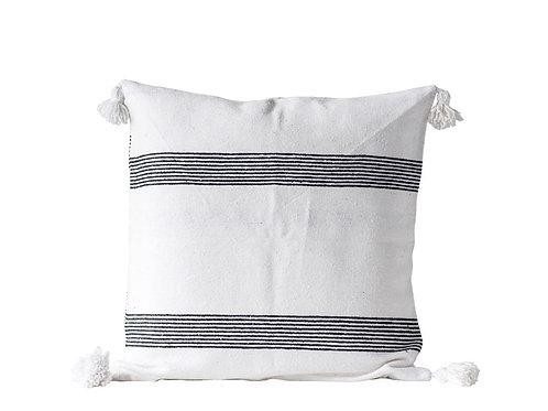 Striped Euro Sham, Black w/ White Tassels