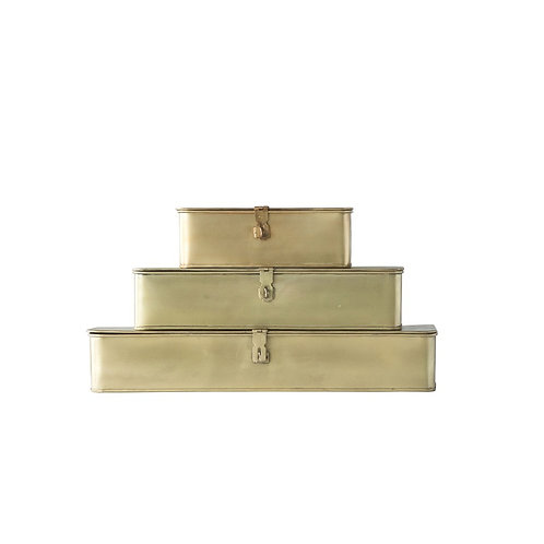 BRASS RECTANGLE BOXES (SET OF 3)