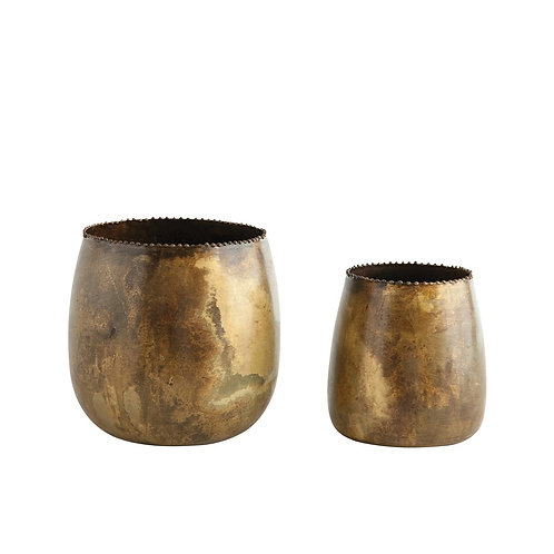 BRASS METAL PLANTERS (SET OF 2)