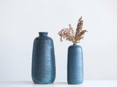 MATTE BLUE FLOWER VASE