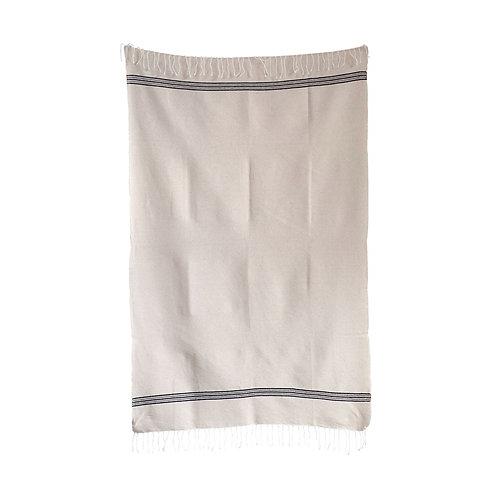 Hand Loomed Bath Towel, Natural & Black