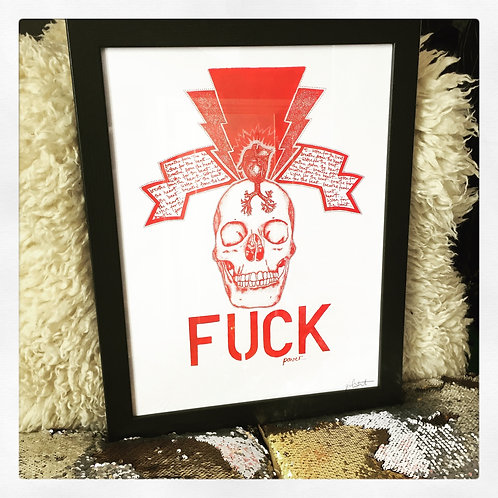 FUCK POWER SKULL A3 ART PRINT
