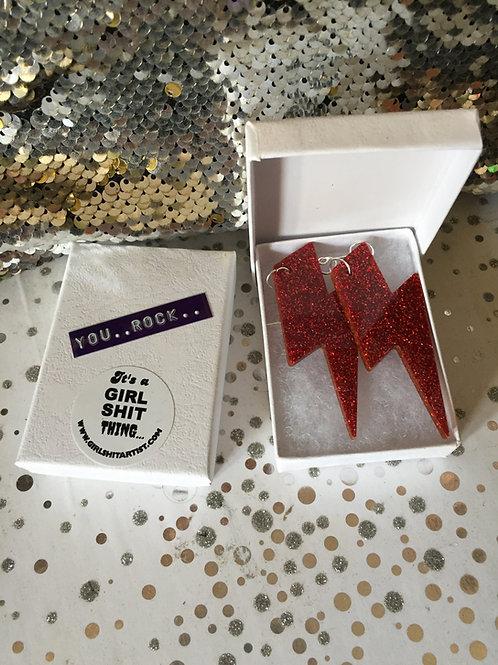 Red Glitter 'YOU ROCK' earrings