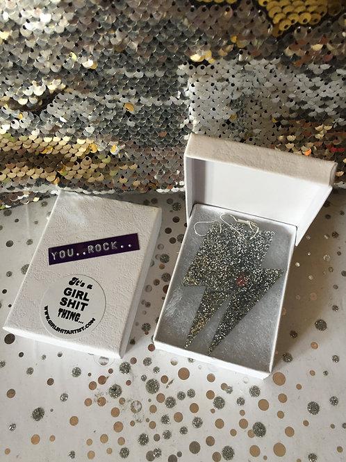 Silver glitter 'YOU ROCK' earrings
