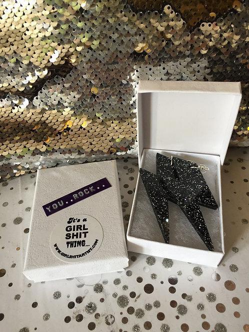 Black Glitter 'YOU ROCK' earrings