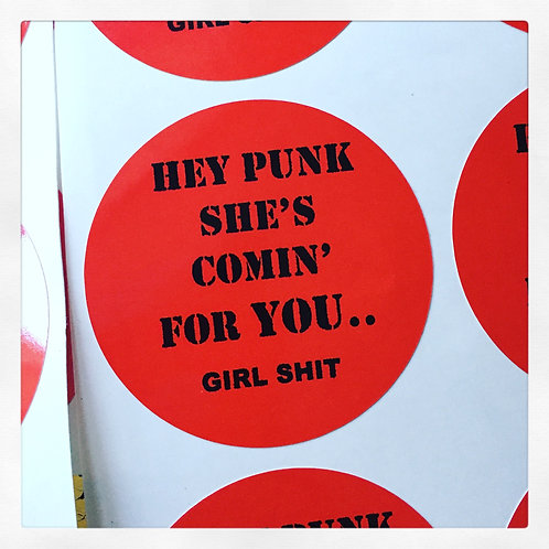 'HEY PUNK SHE'S COMIN FOR YOU' Vinyl sticker