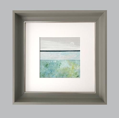Framed Original Acrylic Painting. Seascape 1 study. Painting 120mm x 120mm Handmade Frame 297mm  x 297mm Colour - Grey