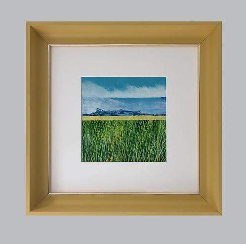 Framed Original Acrylic Painting. Seascape 1 study. Painting 120mm x 120mm Handmade Frame 297mm  x 297mm Colour - Mustard