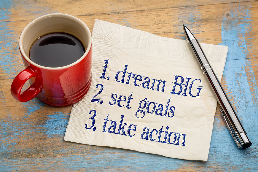 dream big, set goals, take action - inspirational handwriting on a napkin with a cup of coffee.jpg