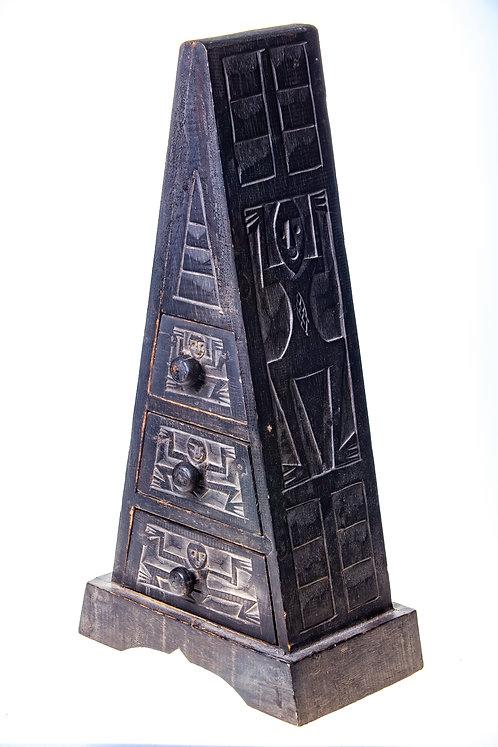 Pyramide bois Africain 3 tiroirs
