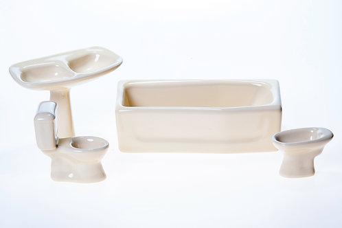 Salle de bain pour maison de poupée en céramique