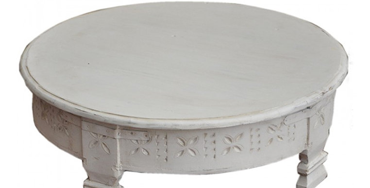 Tribal Grinder Coffee Table - White