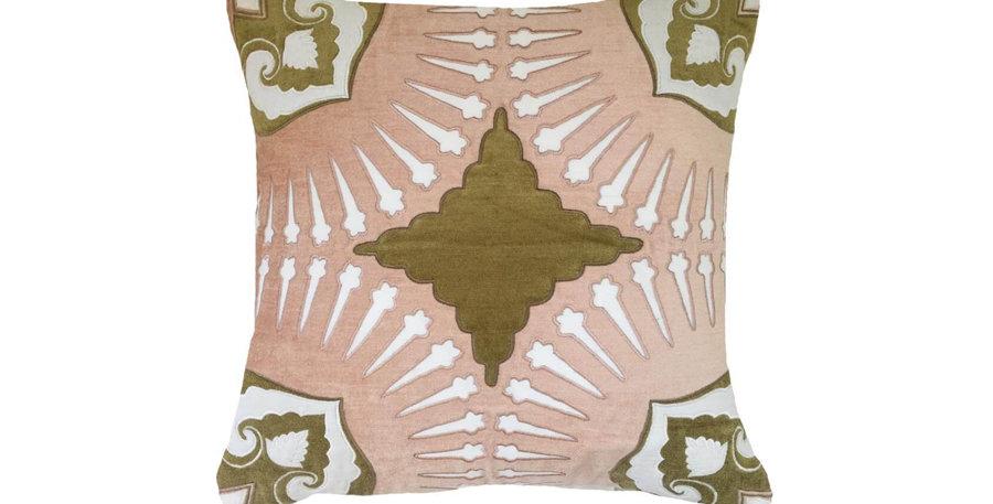 Blush & Sage Velvet Cushion