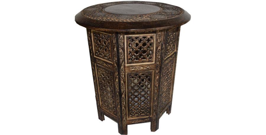Moroccan Side Table - Dark Wood