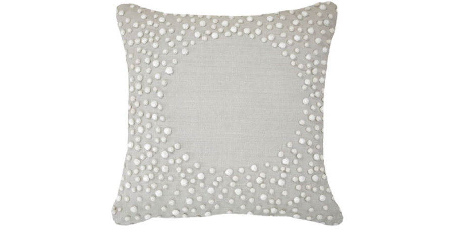White Pompom Cushion