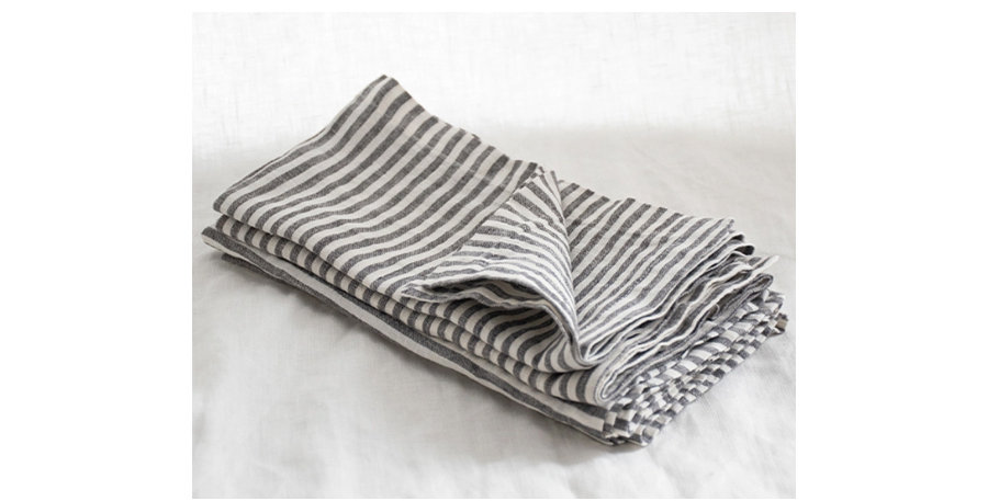 Charcoal Stripe French Linen Napkin