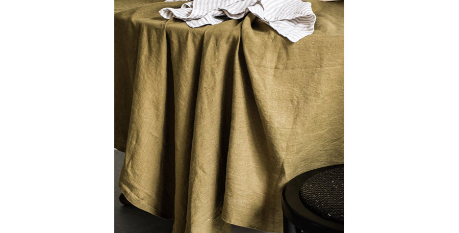 Olive French Linen Tablecloth