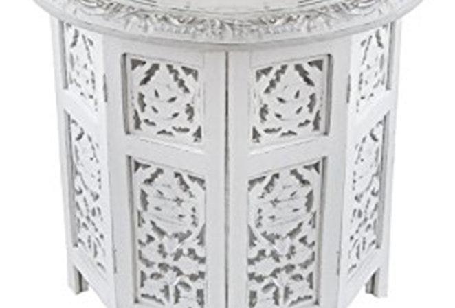 Moroccan Side Table - White