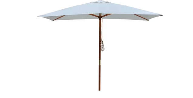 3m Square Market Umbrella / Wooden Base