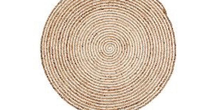 Plumeria Round Jute Rug - Natural