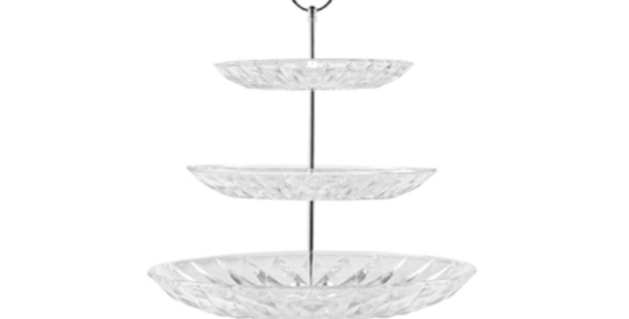 3 tier glass embossed cake stand