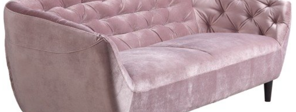 Dusty Rose Velvet Three Seater