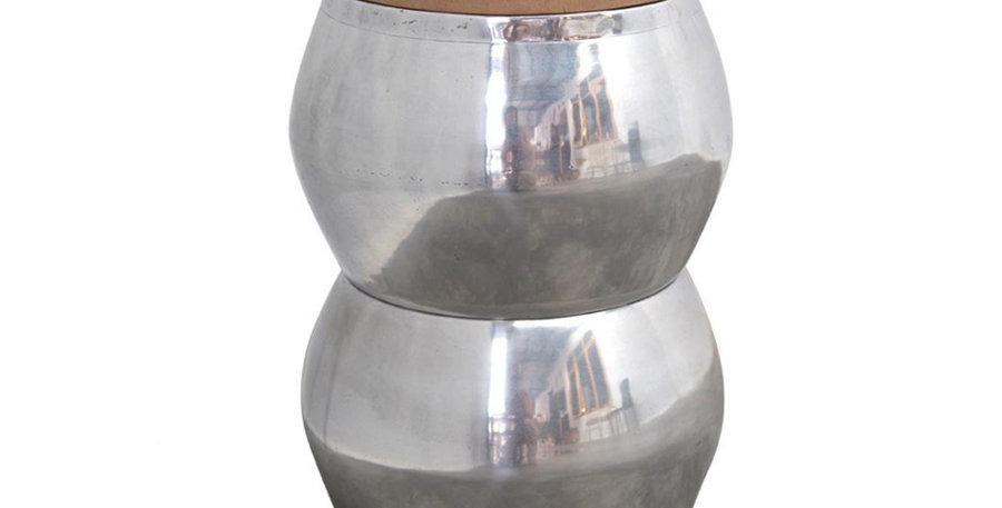 Matola Silver & Timber Side Table