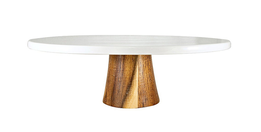 Acacia Wooden & White Cake Stand