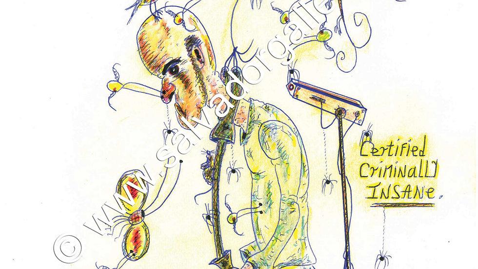 Charles Bronson Salvador Original A4 Artwork - Certified Criminally Insane