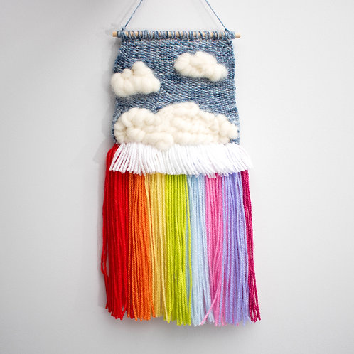 Rainbow Clouds wool hanging